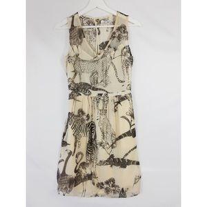 Madewell Cream Silk Safari Print Dress Size 4